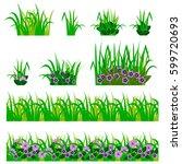 set of garden flowers in grass. ... | Shutterstock .eps vector #599720693