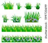 set of garden flowers in grass. ... | Shutterstock .eps vector #599720699