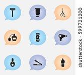 set of 9 editable barber icons. ...