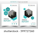blue hexagon brochure annual... | Shutterstock .eps vector #599727260