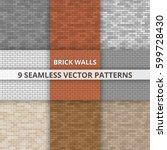 9 seamless vector patterns.... | Shutterstock .eps vector #599728430