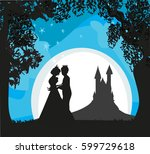 magic castle and princess with...   Shutterstock .eps vector #599729618