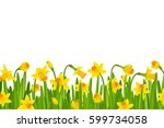 narcissus border with gradient... | Shutterstock .eps vector #599734058