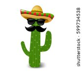 mexican cactus sunglasses with... | Shutterstock .eps vector #599734538