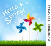 colorful pinwheels with... | Shutterstock .eps vector #599734613