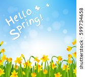 hello spring poster with... | Shutterstock .eps vector #599734658