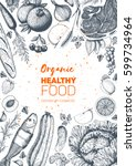 healthy food frame vector... | Shutterstock .eps vector #599734964