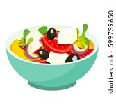 greek salade isolated on white... | Shutterstock . vector #599739650