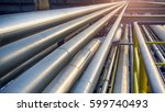 pipeline in large oil refinery ... | Shutterstock . vector #599740493