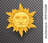 antique golden sun face crown... | Shutterstock .eps vector #599743388