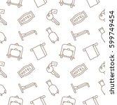 hotel seamless pattern vector... | Shutterstock .eps vector #599749454