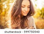 outdoor atmospheric lifestyle... | Shutterstock . vector #599750540