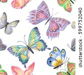 happy easter. butterflies... | Shutterstock . vector #599752040