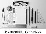 top view of stationery and... | Shutterstock . vector #599754398
