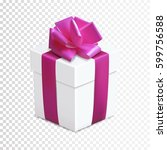 gift box with pink bow and... | Shutterstock .eps vector #599756588