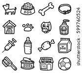 dog  objects  icons set  ... | Shutterstock .eps vector #599760524