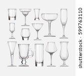 set of empty cocktail stemware ... | Shutterstock . vector #599763110