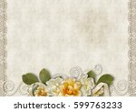 vintage background with a roses ... | Shutterstock . vector #599763233