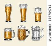 set of icons of full glass of... | Shutterstock . vector #599764763