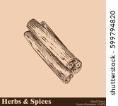 hand drawn cinnamon. herbs and... | Shutterstock .eps vector #599794820