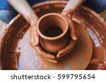 pottery artisan making fireclay ...   Shutterstock . vector #599795654