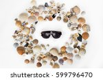 Seashells Background..circle O...
