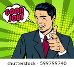 pop art man pointing finger... | Shutterstock .eps vector #599799740