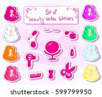 set of beauty salon stickers | Shutterstock .eps vector #599799950