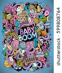 cartoon cute doodles hand drawn ... | Shutterstock .eps vector #599808764