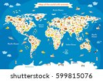 map of the world with animals.... | Shutterstock .eps vector #599815076