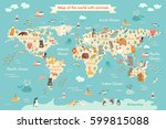 animals world map for kid.... | Shutterstock .eps vector #599815088