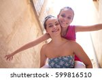 student girls friends joyful... | Shutterstock . vector #599816510