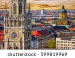 Munich architectural sunset view, Germany, Bavaria. Marienplatz town hall