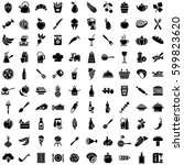 pack of hundred black and white ... | Shutterstock .eps vector #599823620