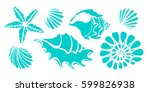 set of silhouettes of sea...   Shutterstock .eps vector #599826938
