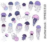 set of hand drawn jellyfish.... | Shutterstock .eps vector #599831510