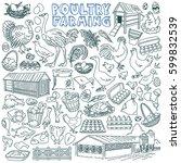 poultry farming doodle set.... | Shutterstock .eps vector #599832539