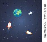 rocket launch concept. start up ... | Shutterstock .eps vector #599847110
