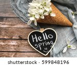 hello spring chalkboard with... | Shutterstock . vector #599848196
