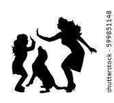 vector silhouette of family on... | Shutterstock .eps vector #599851148
