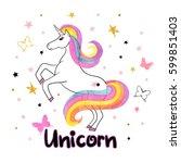 beautiful rainbow unicorn... | Shutterstock .eps vector #599851403