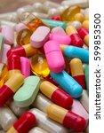 medical or vitamin pills.... | Shutterstock . vector #599853500