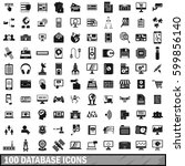 100 database icons set in... | Shutterstock .eps vector #599856140