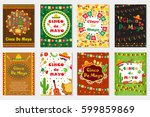 cinco de mayo set greeting card ... | Shutterstock .eps vector #599859869