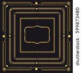 set of vector golden vintage... | Shutterstock .eps vector #599873480