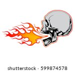 fire breathing skull vector...
