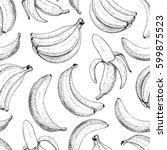 banana vector seamless pattern. ... | Shutterstock .eps vector #599875523
