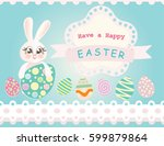 easter bunny on blue background ... | Shutterstock . vector #599879864