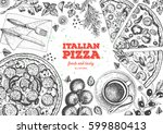 italian pizza top view frame.... | Shutterstock .eps vector #599880413
