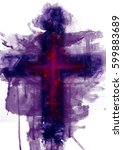 abstract purple cross. artistic ...   Shutterstock . vector #599883689